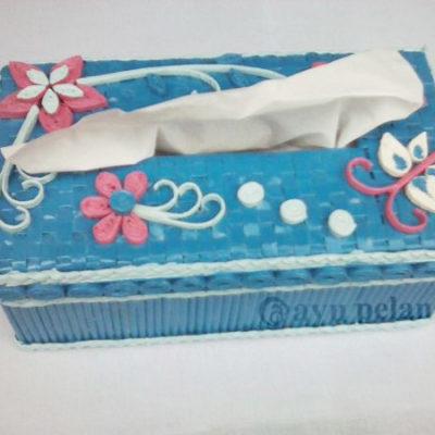 kotak tisu cantik kerajinan tangan dari kertas koran gulung