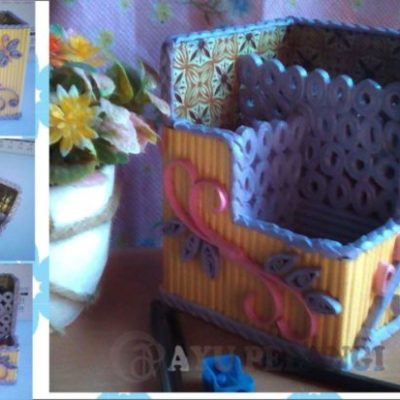 kotak pensil cantik kerajinan tangan dari kertas koran